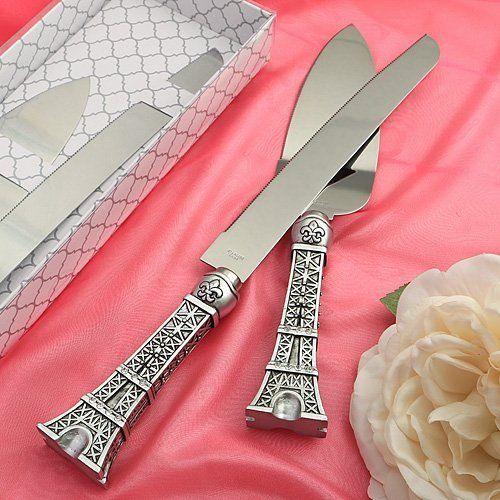 Eiffel Tower design cake set. Cake Server & Knife