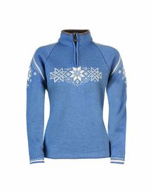 Holmenkollen Feminine Sweater - Blue Shadow/Off White