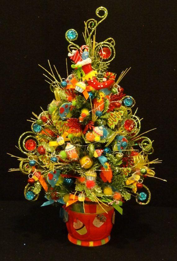 Cupcake and Candy Christmas Tree, Cupcake and Candy Christmas Decoration, Decorated Christmas Trees, Miniature Christmas tree,Table top tree