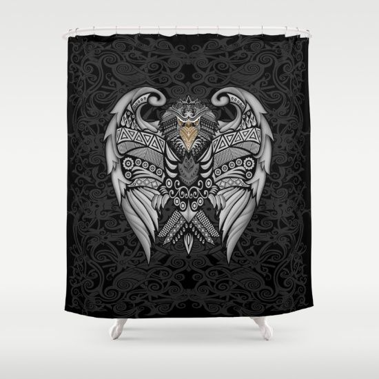 Aztec Pattern Ravenclaw Eagle Logo SHOWER CURTAIN  #showercurtain #shower #curtain #bathroom #artdesign #digitalart #drawing #digital #colored #pencil #pattern #vintage #blackwhite #ravenclaw #hawk #eagle #animal #bird #tattoo #mayan #indian #americannative