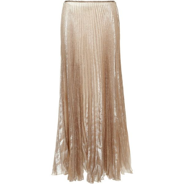 Rochas Silk Lurex Long Plisse Skirt ($2,130) ❤ liked on Polyvore featuring skirts, brown maxi skirt, brown silk skirt, long skirts, long brown maxi skirt and long brown skirt
