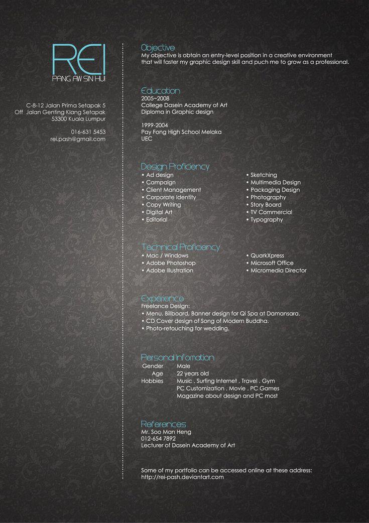 67 best Creative CV images on Pinterest Artist resume - entry level graphic design resume