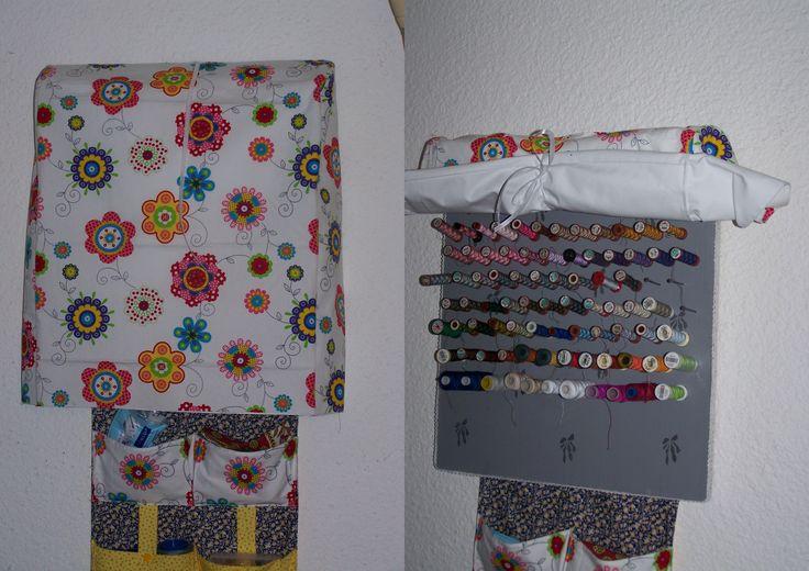 Protège-bobines - Recto coton japonais https://www.alittlemercerie.com/boutique/sigrid_s_fabric-364951.html verso occultant blanc.