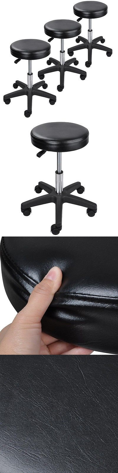 Other Salon and Spa Equipment: 3X Black Adjustable Tattoo Salon Stool Rolling Chair Facial Massage Office BUY IT NOW ONLY: $78.9