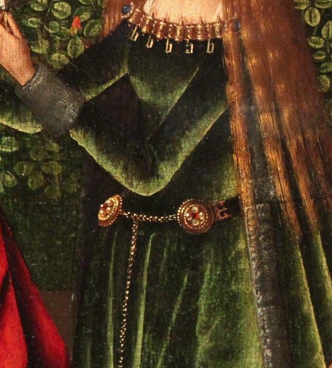 Master of the St. Lucy Legend. Virgin of the Rose Garden with Saints, c.1475-80 , detail of demicient belt.