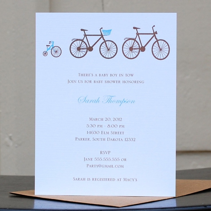 Bicycle Baby Shower Invitation Shower Invitations