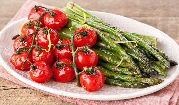 Roasted Cherry Tomatoes and Asparagus