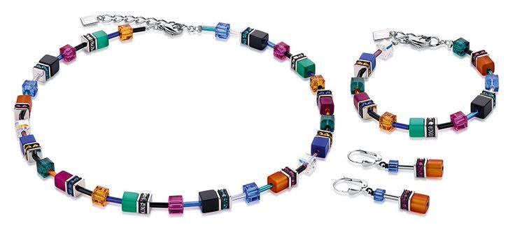Geo Cube bold orange blue magenta necklace, earrings and bracelet 2838_1556 – coeur de lion jewellery