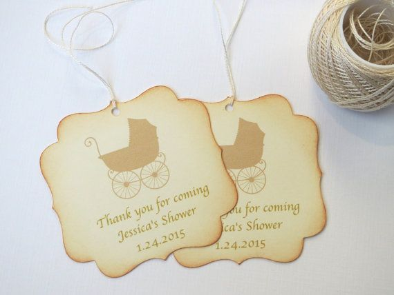 Baby shower favor tags with antique baby by WildSugarberries