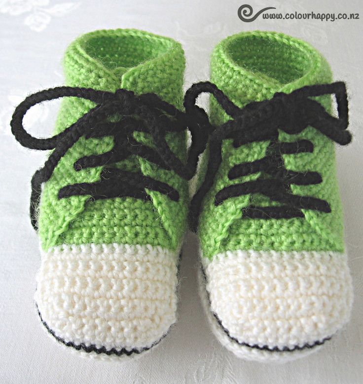 Baby High Tops - lime green ♥Made by Colour Happy / Adele, based on a pattern by Donna Childs