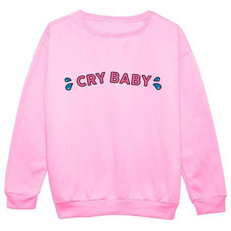 Crybaby Crunchberry Crewneck Sweatshirts CRY BABY LOVE PINK Sweats Jumper Outfits Women Hoodies Pullover Free Shipping