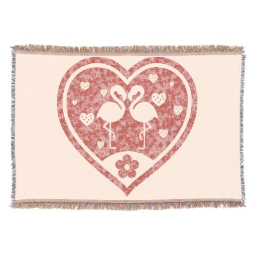 Cozy up with this beautiful, woven throw blanket! Two loving flamingos inside a beautiful red textured heart, on pink background color #fomadesign