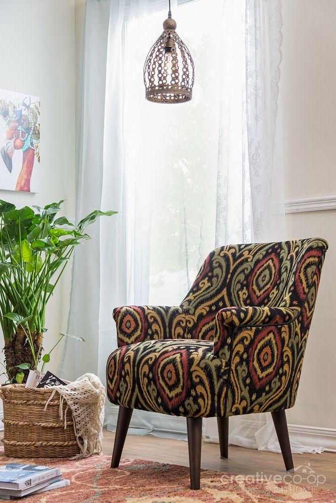 Best Bohemian Hayden Upholstered Accent Chair ★ Creative Co Op 640 x 480