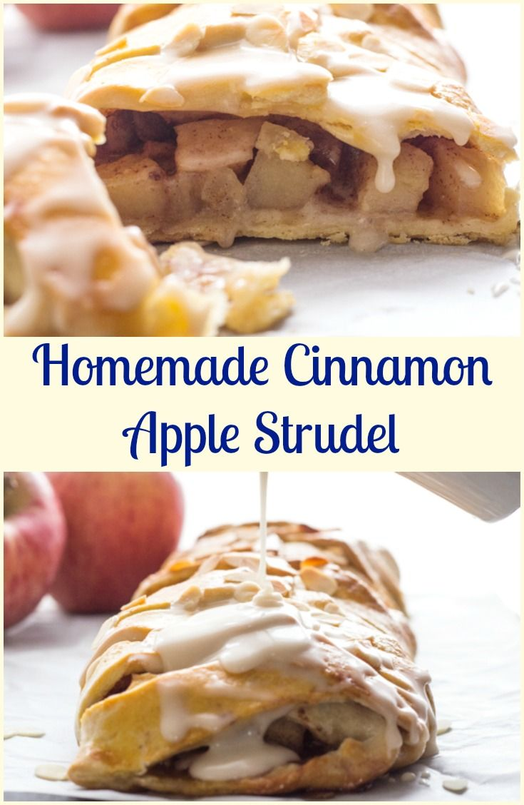 Homemade Cinnamon Apple Strudel, an easy made from scratch dough and filling recipe makes this a delicious anytime dessert. via @https://it.pinterest.com/Italianinkitchn/