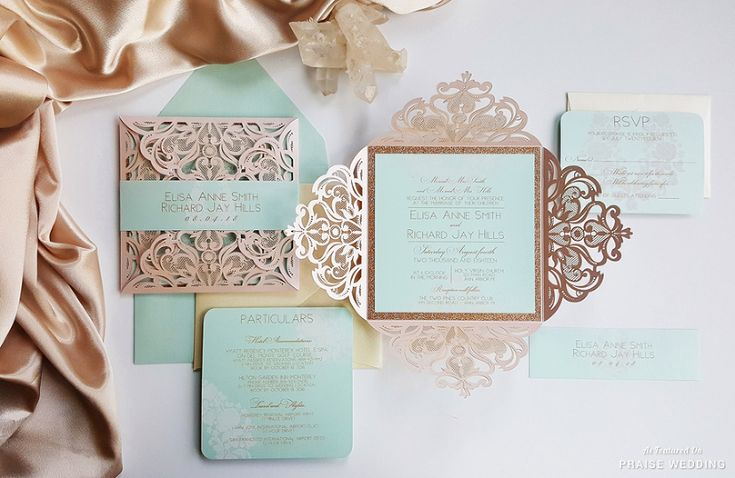 This mint x gold lasercut invitation suite from Designed with Amore is so elegant!