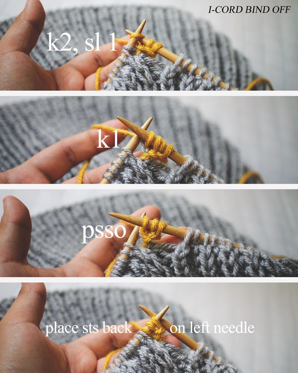 Excellent #Knitting_Tutorial for I-cord bind off showing steps : k2; sl 1, k1; psso; place sts back on left needle. Enjoy from #KnittingGuru http://www.KnittingGuru.etsy.com
