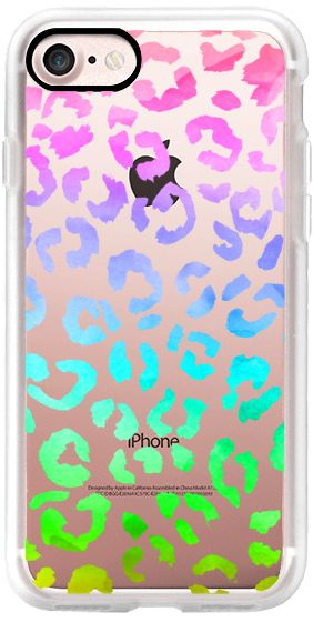 Casetify iPhone 7 Classic Grip Case - Watercolor neon rainbow hand drawn leopard pattern by Girly Trend by Girly Trend #Casetify