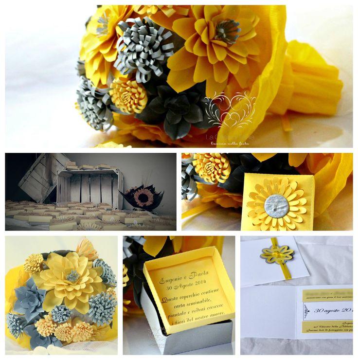 Idee per un matrimonio dai colori insoliti www.lacasadiTania.it #seed paper #paper flower