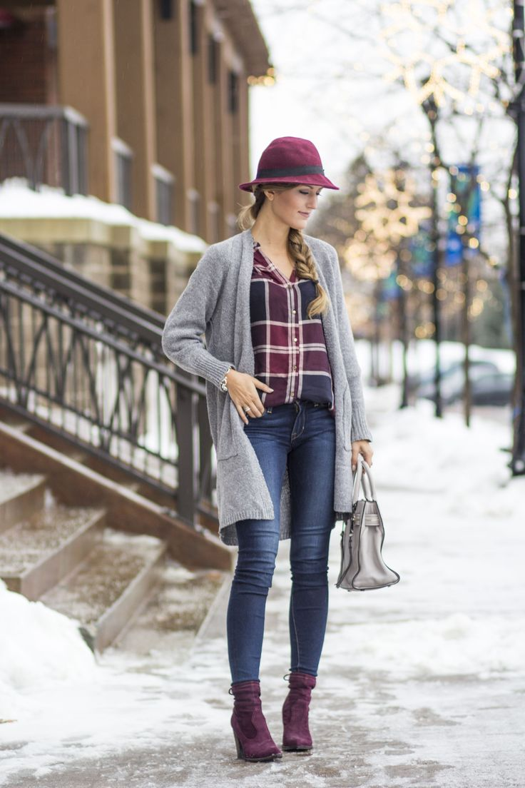 SheIn Cardigan (only $19, one size but fits like a small) c/o // Dynamite Clothing Plaid Blouse (only $39) c/o // Fidelity Denim Skinny Jeans (old, identical) c/o // Forever 21 Hat (only $23) // Rebecca Minkoff 'Geneva' Satchel