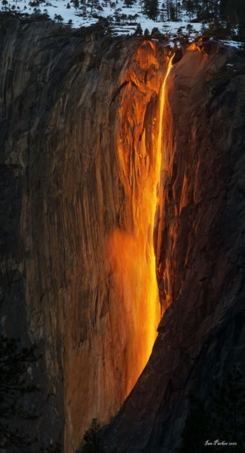 The Yosemite Fire Fall (actually Horsetail Falls near El Capitan). Only happens for a week during mid-February, and only if the weather cooperates!