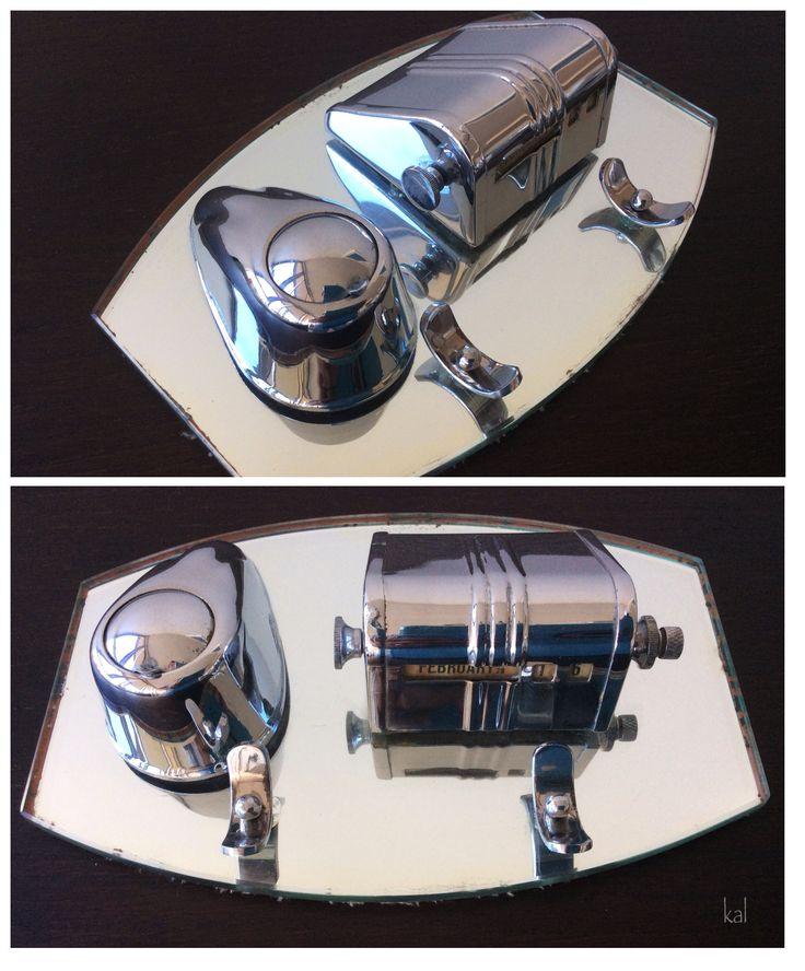 Art Deco Chrome & Mirror Inkwell by Ranleigh Australia. 'Pat applied for'