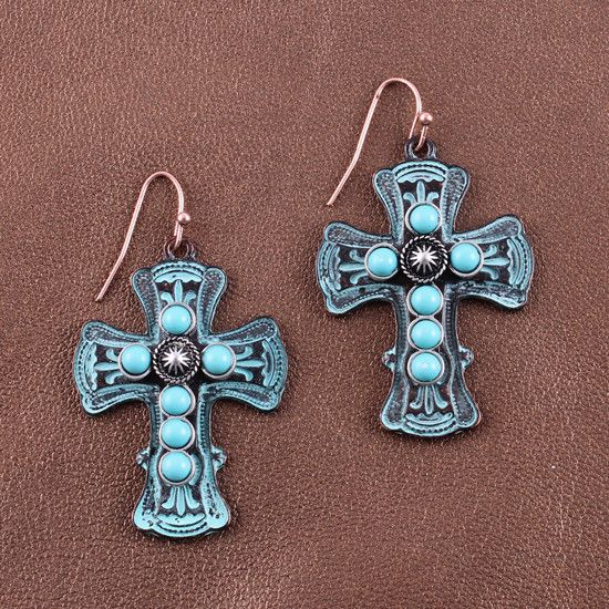 Preston Patina Cross Earrings