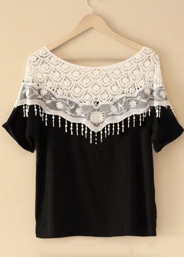lace detailed top Clothing, Closets, Half Sleeve, Cotton Shirts, Womans T Shirts, Chic Lace, Batwing Sleeve, Sleeve Woman, Cheap Fashion Clothes Chic