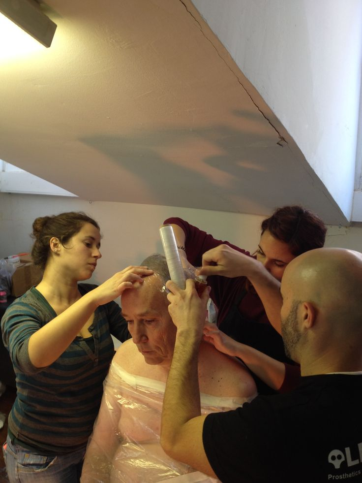 Our special make-up effects crew is preparing Phil Town for lifecasting. Lots of fun.
