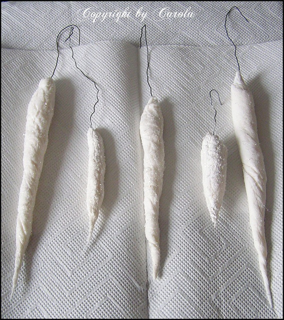Handmade spun cotton icicles