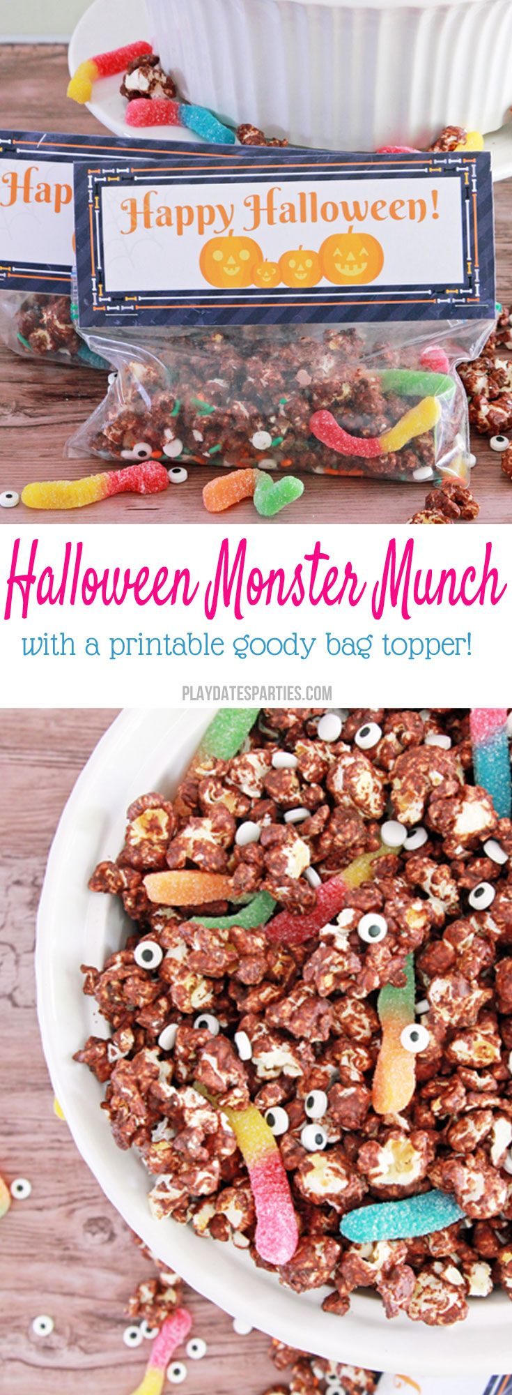 Halloween candy monster munch and printable treat toppers | # InspirationSpotlight