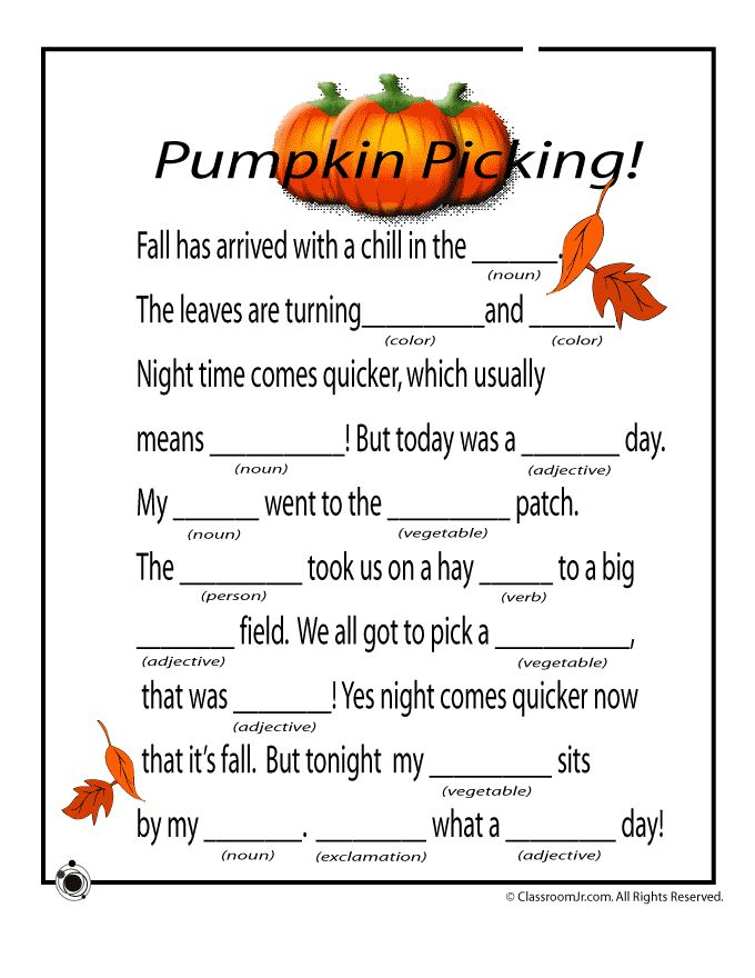Fall Mad Libs for Kids Fall Mad Libs - Pumpkins – Classroom Jr.