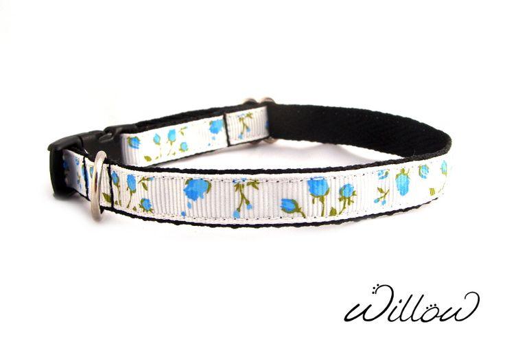 Pretty Blue Floral Designer Puppy Collar by Willow XXS. Get Yours Here: http://www.ebay.com/sch/willowpets/m.html?item=231968920899&hash=item36026cd543%3Am%3AmxNmlRHII9pMhtGj6d0xDjA&var=&rt=nc&_trksid=p2047675.l2562