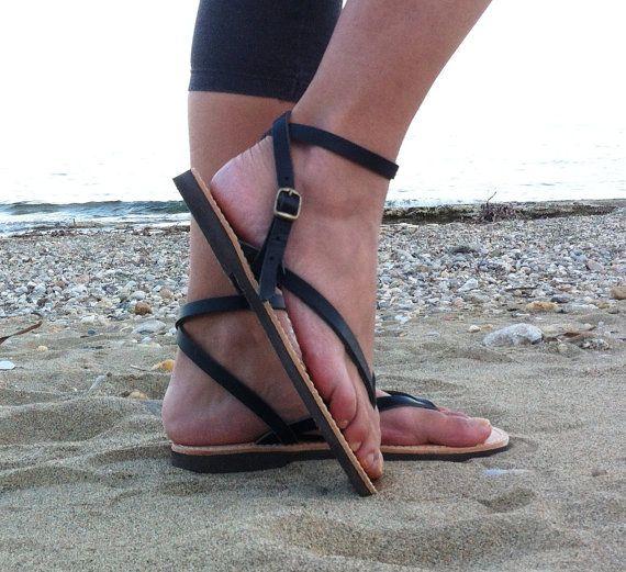 Ankle Strap Leather Sandals black sandals door GrecianSandals