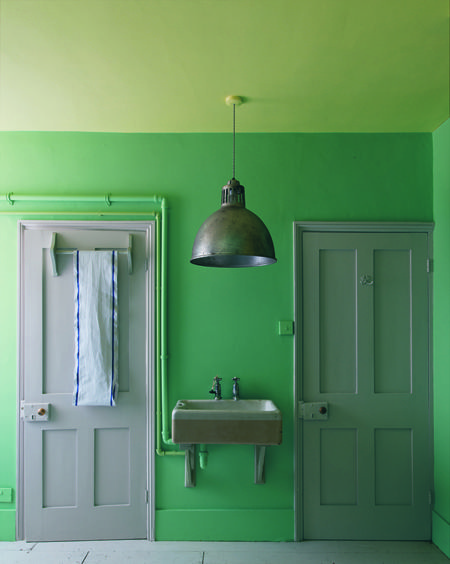 Such cute colors for a bathroom. I wouldn't want this bright for a bigger room-- but something small like a bathroom is just fun,