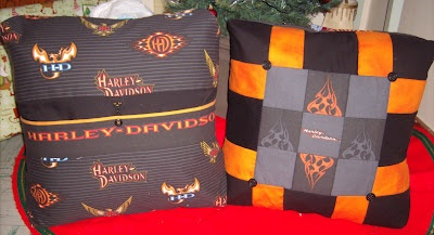 Harley Throw Pillows  Made from scraps of Harley Davidson fabric I purchased on eBay...the picture shows the back of the pillow on the left and the front of the pillow on the right...