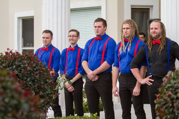 the groom and his groomsmen waiting for the bride to begin her walk down the aisle