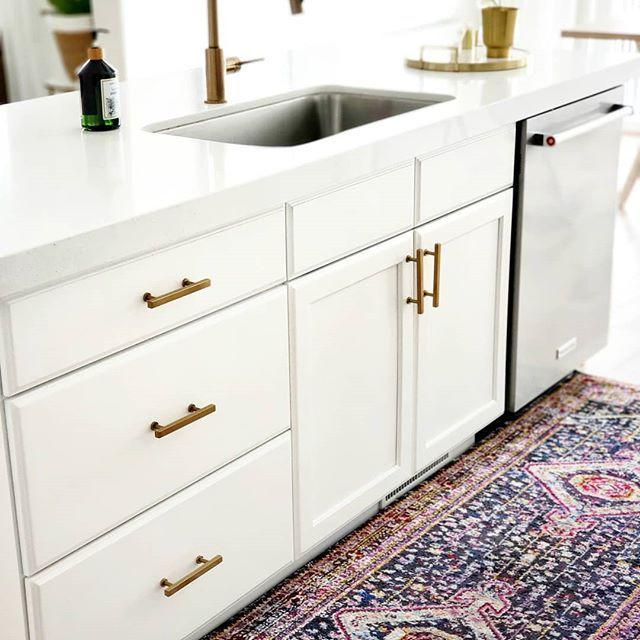 Modern Runner In Kitchen Vintage Runner In Front Of Sink Brass