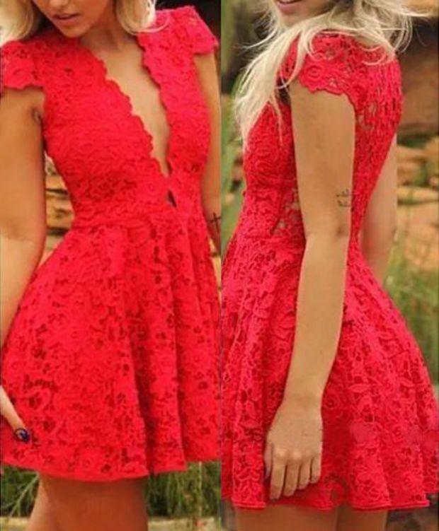 Red Lace Plunging Neckline Skater Dress