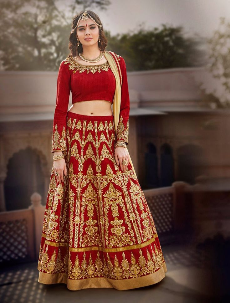 #Red And #Beige #Bangalore #Silk #Circular #Lehenga #nikvik #usa #designer #australia #canada #freeshipping #partywear #party