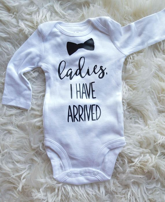 00a02ec17 NEW Handmade baby boys Ladies I Have Arrived set. Made with a soft black  and white quatrefoil jersey knit! Onesie is made with a good quality iron  on, ...