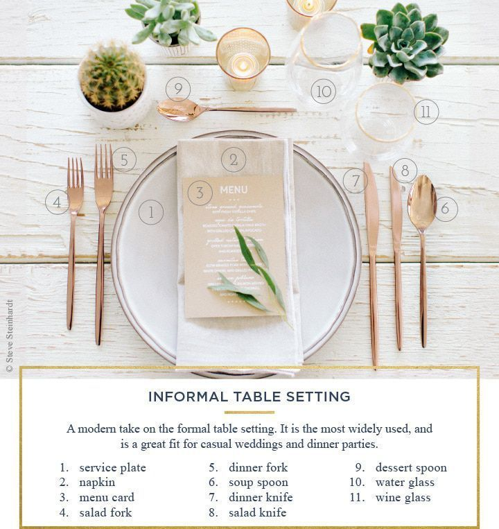 How To Set A Wedding Table With Both Formal Informal And Casual Settings