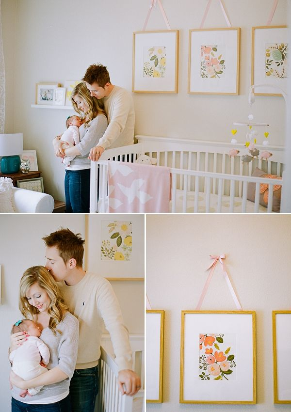 Ayla's Sophisticated Botanical Nursery by Sara Hasstedt and Cassidy Brook Photography on COUTURE colorado Baby | stylish nursery + kid's room design | baby + mom style inspiration | featuring framed vintage botanic prints with ribbon picture hanger, peach white lemon yellow teal blush baby girl nursery.