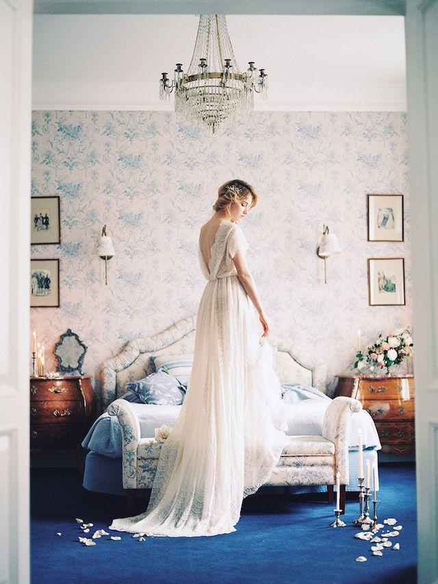 Backless cap sleeve wedding dress with long train | Veresk Fine Art Photography