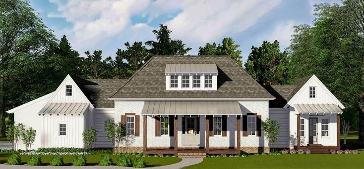 Metal roofing on the dormer and porches and wooden shutters give this Farmhouse house plan a chic look.The living areas inside are divided into a big living room and a combined kitchen/dining room separated by a cozy sitting area in front of the fireplace.Vaulted bedroom 2 is the ideal guest suite, set off by itself with it's own bathroom and walk-in closet.A lounge area opens up to the vaulted master suite on the opposite side of the house and homeowners get a private porch.There...