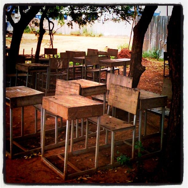 """""""An outdoor classroom in Ghana. Beautiful photo taken by Nicolette Lorraway, working for Theatre for a Change - an NGO working to educate people on sexual and reproductive rights through the power of interactive theatre."""""""