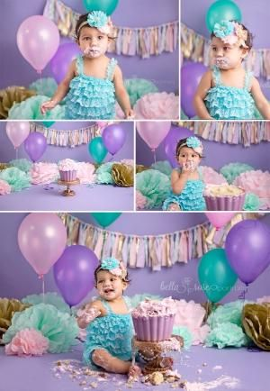 1-year-old baby girl cake smash lavender purple, aqua, teal, gold, pink | Bella Rose Portraits baby and newborn photographer photography by carol.hasky