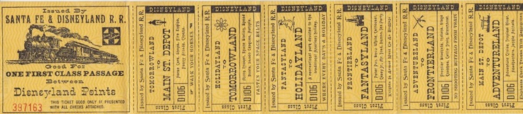 "Pre-1955 Disneyland Railroad Ticket. When Disneyland first opened, Sante Fe and Disneyland Railroad passengers used these elaborate multi-part tickets for passage.  Nearly 12 inches long, this elaborately decorated ticket was printed before Disneyland's plans were finalized; it includes a stub for the Holidayland station which was never built.  Like the Frontierland ticket says, ""No shooting buffalo from the train!"""