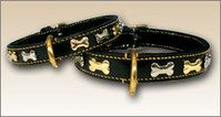 Stunning Black Leather with Brass & Nickel Bones Dog Collar. Brass and nickel bones, perfect for boys and girls! Beautiful, durable and strong. Double lined with suede! Protects your pets neck from coming in contact with the back of the ornaments! OUTSTANDING!