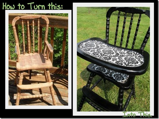 Wooden High Chair Makeover