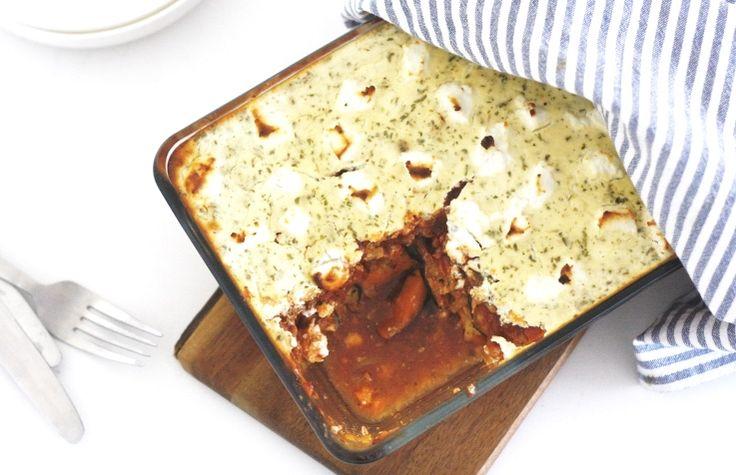 Zoete aardappel moussaka